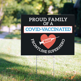 Personalized Covid-Vaccinated Frontline Superhero Yard Sign