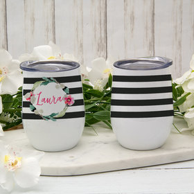 Personalized 12oz Wine Tumbler - Floral Name