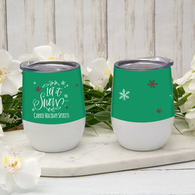 Personalized 12oz Wine Tumbler - Let It Snow