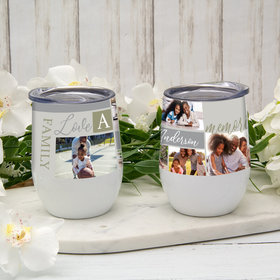 Personalized 12oz Wine Tumbler - Family Photo