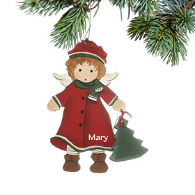 Personalized Toddler Angel in Red Coat and Hat