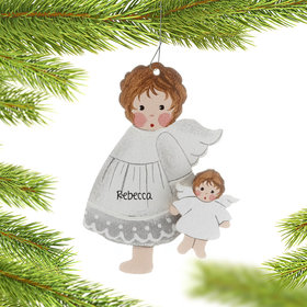 Personalized Toddler Angel Holding A Doll