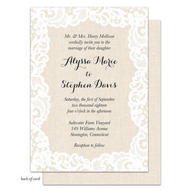 Bonnie Marcus Collection Personalized Linen Lace Invitation
