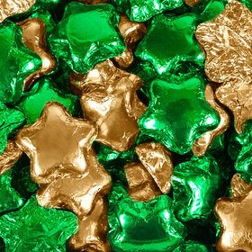 Madelaine Milk Chocolate Stars Green & Gold Foil Mix
