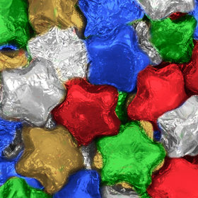 Madelaine Milk Chocolate Stars with Blue, Green, Red, Gold, & Silver Foil