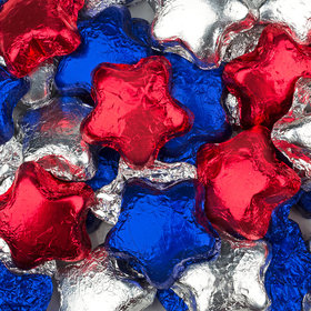 Madelaine Milk Chocolate Patriotic Stars Red, Silver & Blue Foil