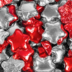 Madelaine Milk Chocolate Stars Red & Silver Foil Mix