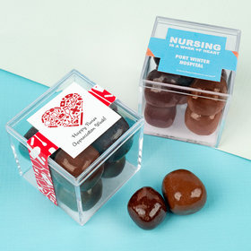Personalized Nurse Appreciation JUST CANDY® favor cube with Premium Milk & Dark Chocolate Sea Salt Caramels