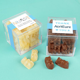 Personalized Nurse Appreciation JUST CANDY® favor cube with Premium Chocolate Covered Gummy Bears