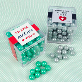 Personalized Nurse Appreciation JUST CANDY® favor cube with Sixlets Chocolate