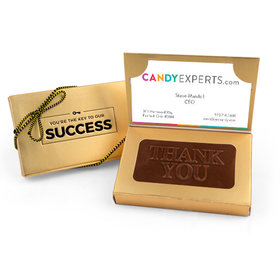 Business Card Holder Box with Embossed Thank You Milk Chocolate Bar (24 Pack)
