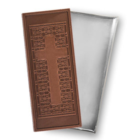 Religious Cross Embossed Belgian Milk Chocolate Foil Wrapped Bar