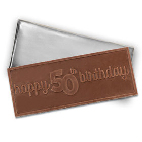 Embossed Happy 50th Birthday Belgian Milk Chocolate Bar (12 Pack)