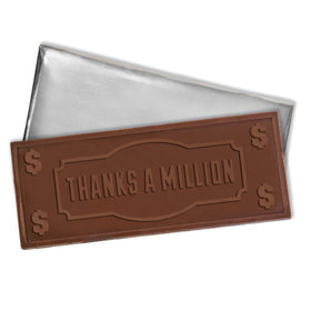 Embossed Thanks a Million Belgian Milk Chocolate Bar (12 Pack)