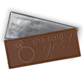 Embossed She Said Yes Belgian Milk Chocolate Bar (12 Pack)