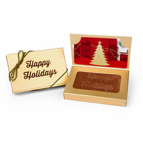 Business Card Holder Box with Embossed Happy Holidays Milk Chocolate Bar (24 Pack)