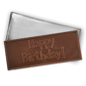 Embossed Happy Birthday Belgian Milk Chocolate Bar (12 Pack)