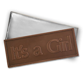 Embossed It's A Girl Belgian Milk Chocolate Bar (12 Pack)
