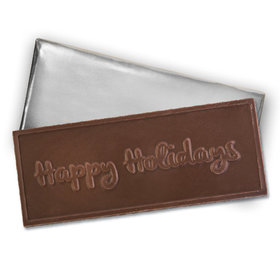 Embossed Happy Holidays Belgian Milk Chocolate Bar (12 Pack)