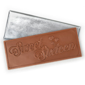 Sweet 16 Embossed Belgian Milk Chocolate Bar (12 Pack)