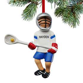 Personalized Lacrosse Boy with Ball in Net