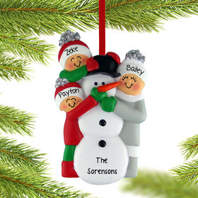 Personalized Building a Snowman Family of 3