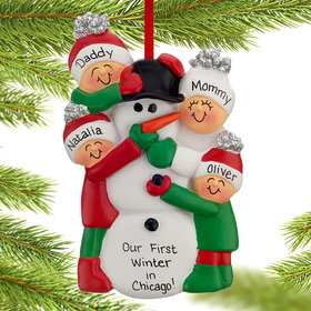 Personalized Building a Snowman Family of 4