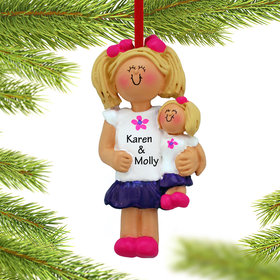 Personalized Little Girl Holding A Doll