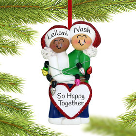 Personalized Mixed Race Christmas Couple (Ethnic/Caucasian)