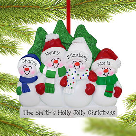 Personalized Snowman Family of 4