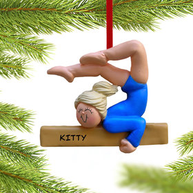 Personalized Gymnastics Girl on a Balance Beam in Blue Leotard