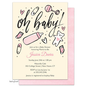 Bonnie Marcus Collection Personalized Baby Girl Icons Invitation