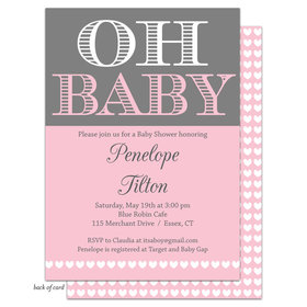 Bonnie Marcus Collection Personalized Oh Baby Invitation - Pink
