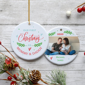 Personalized 'First Christmas as Mommy & Daddy' Family Photo