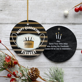 Personalized Quarantine Birthday - Black/Gold Ornament