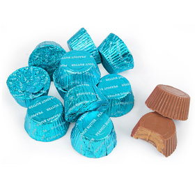 Just Candy Caribbean Blue Foil Peanut Butter Cups