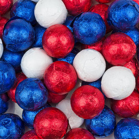 Patriotic Mix Red, White & Blue Caramel Foil Balls