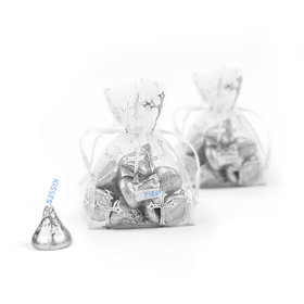 Extra Small Silver Organza Bag Metallic Cross - Pack of 12