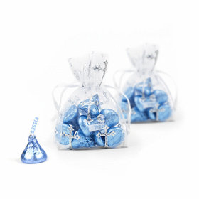 Silver Cross Organza Bags with Light Blue Hershey's Kisses