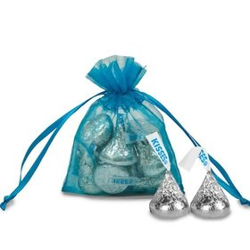Extra Small Organza Bag - Pack of 12 Turquoise