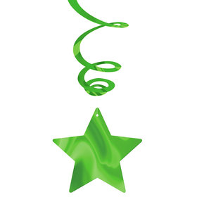 Lime Foil Star Hanging Decorations (30 Count)