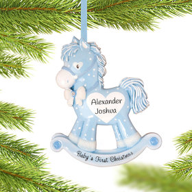 Personalized Blue Rocking Horse Baby's 1st Christmas