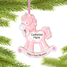 Personalized Pink Rocking Horse Baby's 1st Christmas