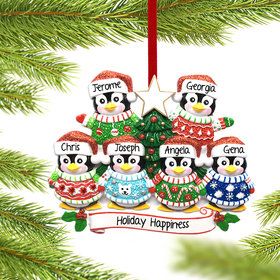 Personalized Penguin Christmas Sweater Family of 6