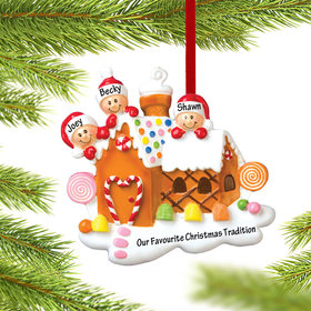 Personalized Gingerbread House Family of 3