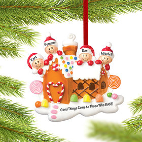 Personalized Gingerbread House Family of 4