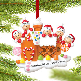 Personalized Gingerbread House Family of 5