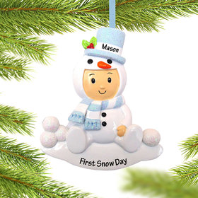 Personalized Baby Boy in Snowman Outfit