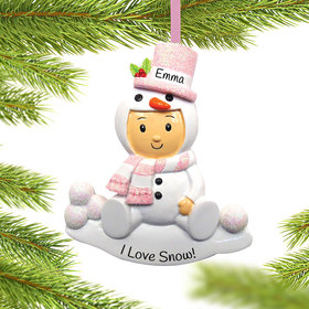 Personalized Baby Girl in Snowman Outfit