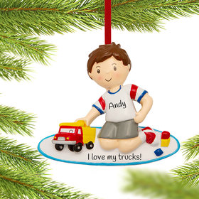 Personalized Boy Playing with Toy Truck
